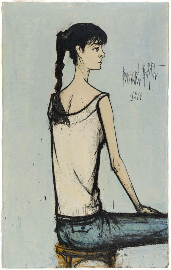 Annabel à la natte, 1960 130 x 81 cm, huile sur toile Musée d'Art moderne de la Ville de Paris © Julien Vidal / Musée d'Art moderne / Roger-Viollet © ADAGP, Paris 2016