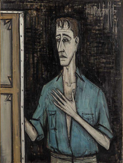Autoportrait sur fond noir, 1956 129,3 x 96,8 cm, huile sur toile Collection Pierre Bergé © Dominique Cohas © ADAGP, Paris 2016